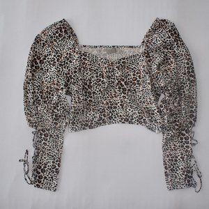 Leopard Crop Top W/ Sleeve Detail